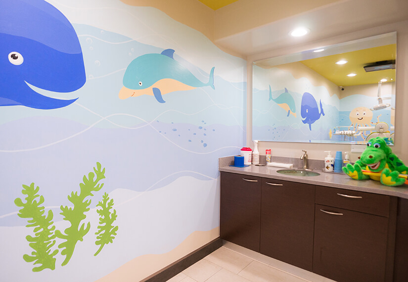 Brushing station photo for MV Kids Dentists and Braces in Mountain View, CA